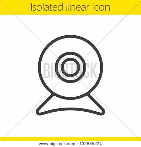 Webcam linear icon. Modern portable computer device thin line illustration. Web camera contour symbol. Vector isolated outline drawing