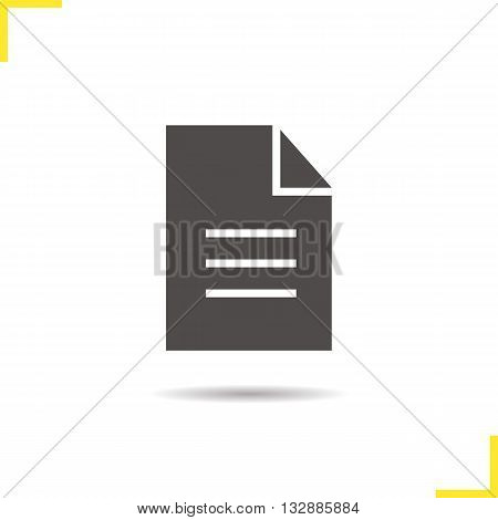 New document icon. Drop shadow file silhouette symbol. Application form icon. Office paper symbol. Document logo concept. Vector page isolated illustration