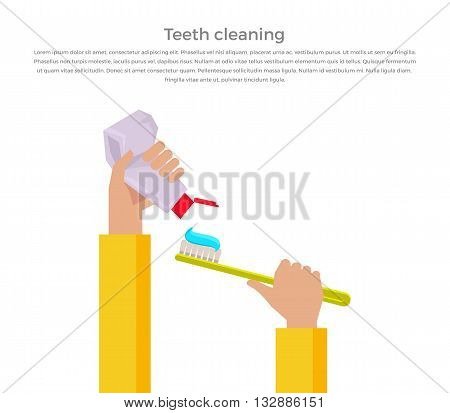 Teeth cleaning concept design banner flat. Template poster on brushing. In hands of toothpaste and brush. Dental cleaning hygiene and health care or oral healthy stomatology. Vector illustration