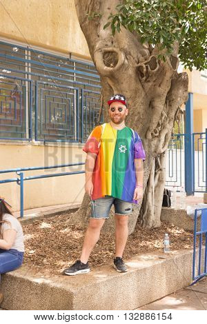 Tel Aviv Israel June 03 2016: Members of the traditional yearly pride parade poses for the photographer in Tel Aviv Israel