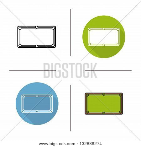 Billiard table flat design, linear and color icons set. Cue sports. Billiard. Contour and long shadow symbols. Billiard table logo concepts. Isolated vector illustrations. Infographic elements