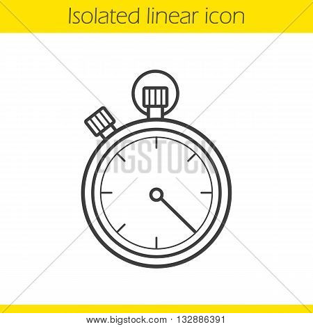 Stopwatch linear icon. Timer thin line illustration. Sport competitions time measurement tool contour symbol. Stopwatch logo concept. Vector isolated outline drawing