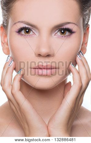 Beauty Spa Woman with perfect skin Portrait. Beauty young woman Smile. Natural Plump full Lip. Lips augmentation.