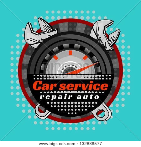 Car service crossed wrenches logo pop art vector