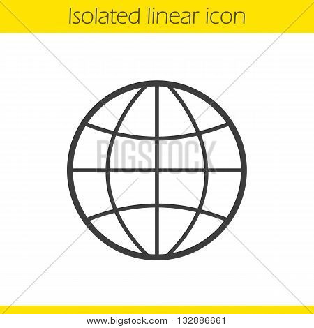Globe linear icon. Earth spherical model thin line illustration. World contour symbol. Vector isolated outline drawing