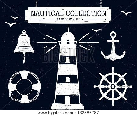 Hand drawn nautical collection of lighthouse anchor ship helm lifebuoy bell on black background.