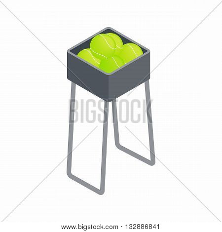 Basket for keep tennis balls icon in isometric 3d style on a white background