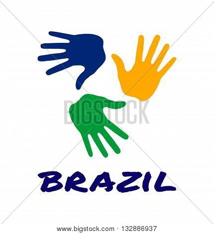 colorful three hand print icon using Brazil flag colors. Vector illustration
