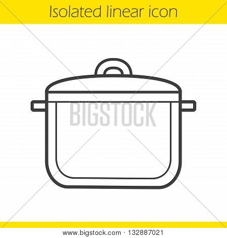 Pot linear icon. Kitchen utensil. Cooking instrument thin line illustration. Saucepan contour symbol. Vector isolated outline drawing