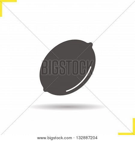 Lemon icon. Drop shadow lemon fruit silhouette symbol. Fresh ripe citrus fruit. Exotic juicy sour fruit. Lemon logo concept. Vector lemon fruit isolated illustration
