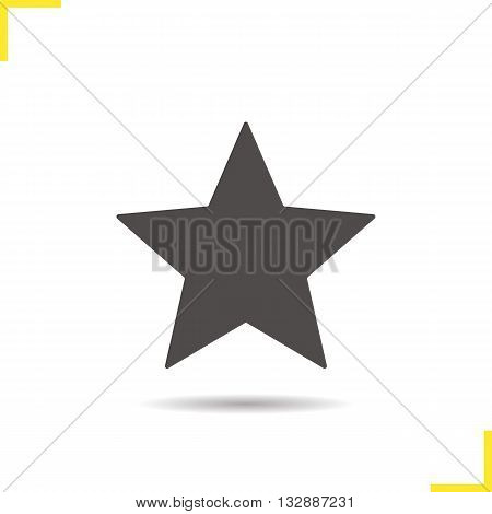Star mark icon. Drop shadow rate sign silhouette symbol. Favourite digital symbol. Vector isolated illustration