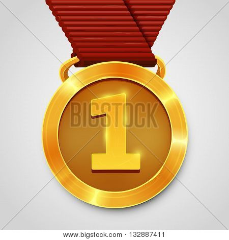 First place award gold medal with red ribbon. Vector illustration