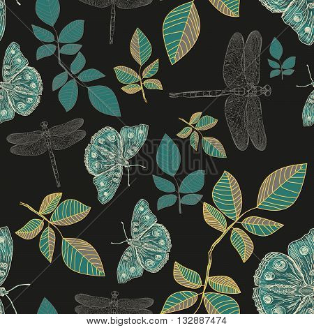 Butterflies and dragonflies seamless pattern hand drawn vector illustration