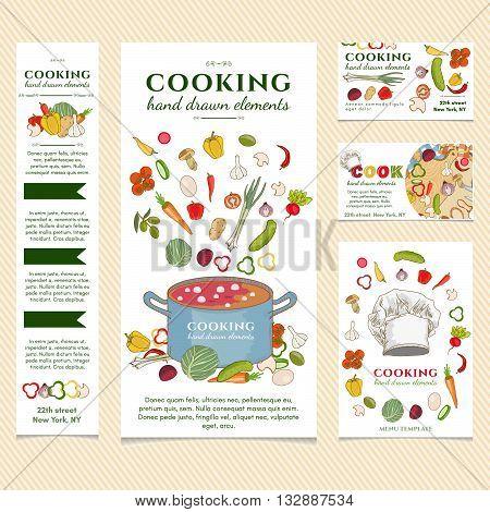 Cooking restaurant menu template Cooking vector illustration set