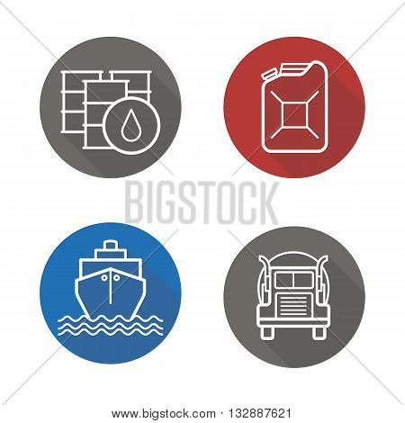 Petroleum industry flat linear long shadow icons set. Petrol barrels and jerrycan, cargo ship and oil transportation lorry. Vector