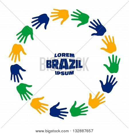 Colorful fifteen hand print icon using Brazil flag colors. Vector illustration.