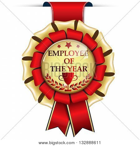 Employee of the Year - golden red award ribbon