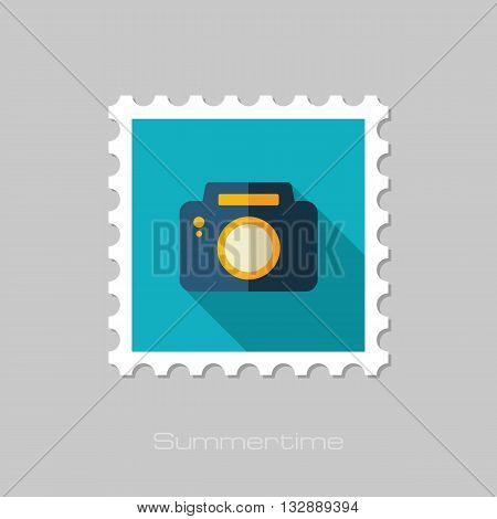 Photo Camera vector flat stamp with long shadow. Beach. Summer. Summertime. Vacation eps 10