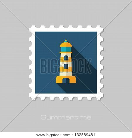 Lighthouse vector flat stamp with long shadow. Beach. Summer. Summertime. Vacation eps 10
