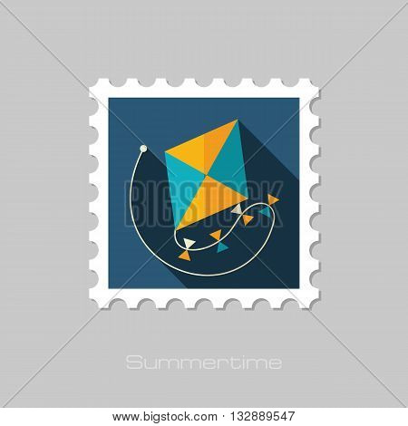 Kite vector flat stamp with long shadow. Beach. Summer. Summertime. Vacation eps 10