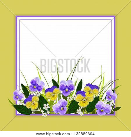 Floral vector background with beautiful pansies. Beautiful frame with place for your text.