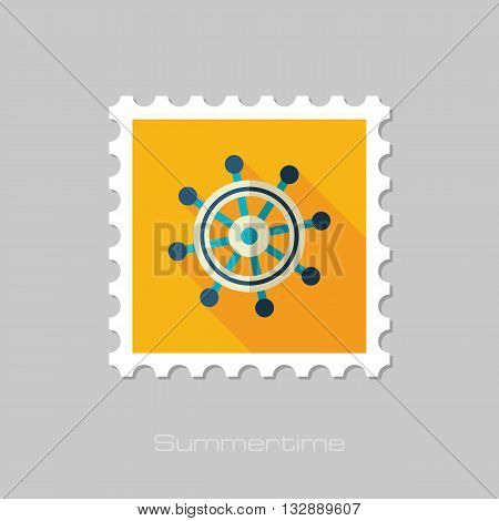 Helm vector flat stamp with long shadow. Beach. Summer. Marine. Summertime. Vacation eps 10