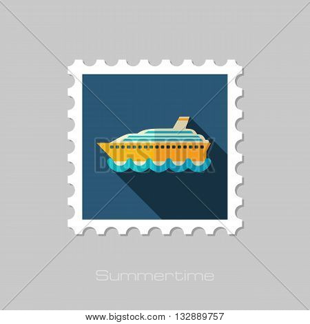 Cruise transatlantic liner vector flat stamp with long shadow. Beach. Summer. Summertime. Vacation eps 10