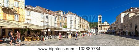 HVAR, CROATIA - JULY 1, 2009: Unidentified people on the street of Stari Grad Hvar Croatia. Stari Grad (Pharos) is the oldest town in Croatia.