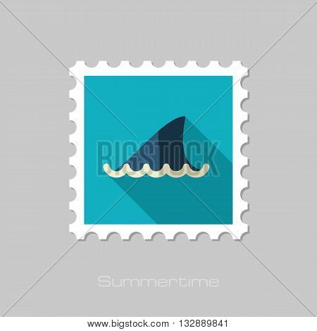 Shark fin vector flat stamp with long shadow. Beach. Summer. Summertime. Vacation eps 10