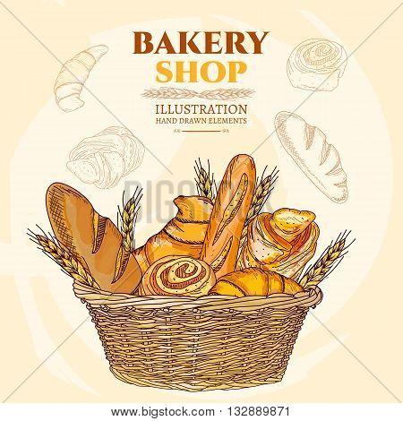 Bakery shop. Bakery basket. Vector illustration set
