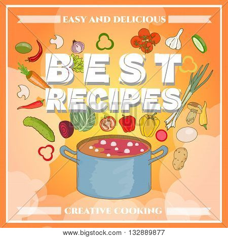 Cooking cook cookbook template fresh vegetables flying in a pan hand drawn vector illustration
