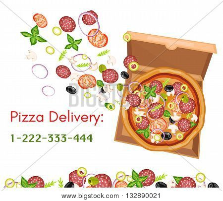 Pizza delivery pizza box top view isolated on white vector illustration