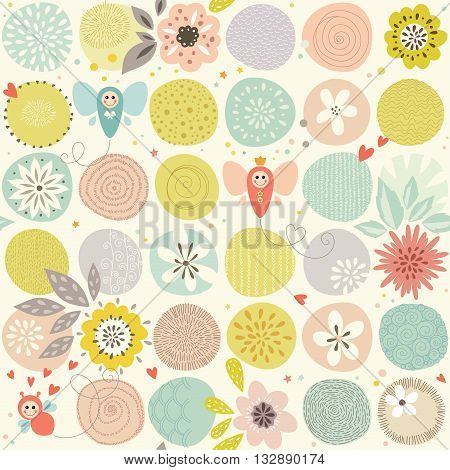 Hand drawn romantic seamless pattern with hearts, flowers, bugs and butterflies.