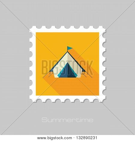 Tent vector flat stamp with long shadow. Beach. Summer. Summertime. Vacation eps 10