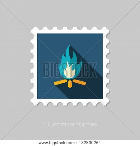 Bonfire vector flat stamp with long shadow. Beach. Summer. Summertime. Vacation eps 10