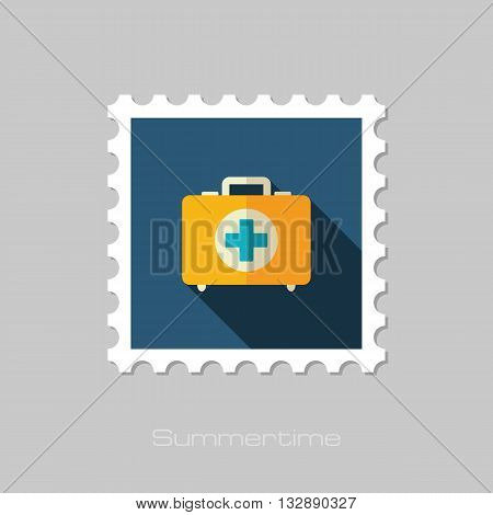 First aid kit vector flat stamp with long shadow. Beach. Summer. Summertime. Vacation eps 10