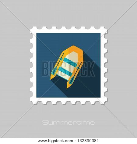 Inflatable boat vector flat stamp with long shadow. Beach. Summer. Summertime. Vacation eps 10