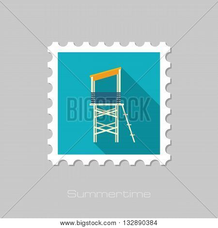 Lifeguard tower vector flat stamp with long shadow. Beach. Summer. Summertime. Vacation eps 10
