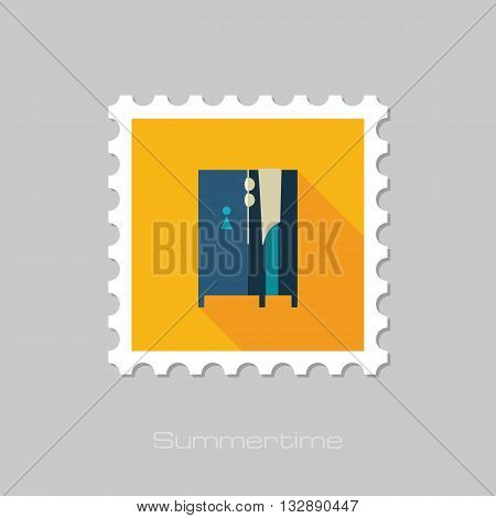 Cloakroom on the beach vector flat stamp with long shadow. Beach. Summer. Summertime. Vacation eps 10