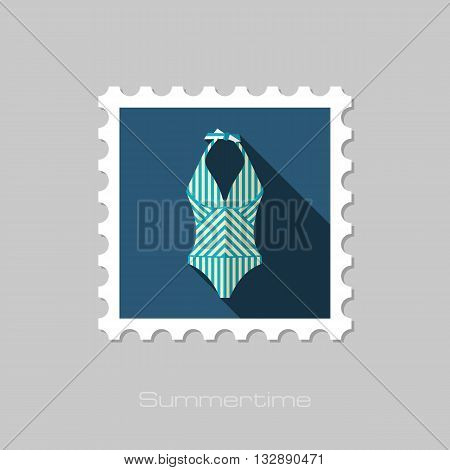 Swimsuit vector flat stamp with long shadow. Beach. Summer. Summertime. Vacation eps 10