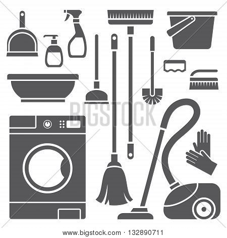 Vector set of black cleaning symbols isolated on white background