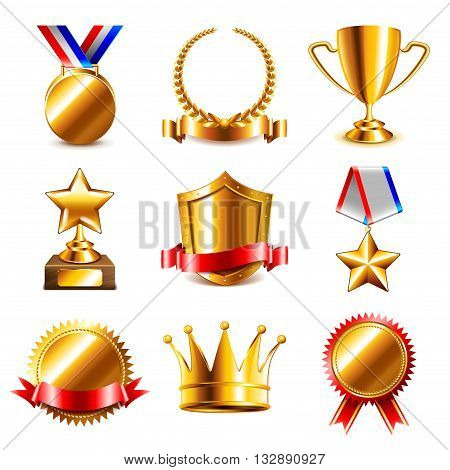 Awards and medals icons detailed realistic vector set