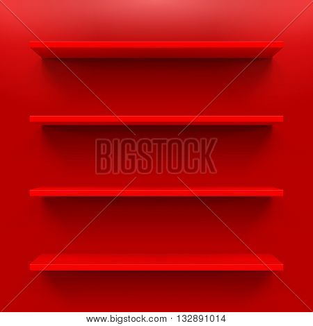 Gorizontal bookshelves on the red wall. Vector illustration