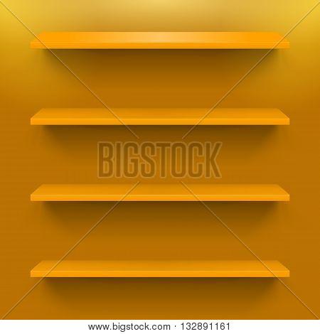 Four horizontal bookshelves on the orange wall