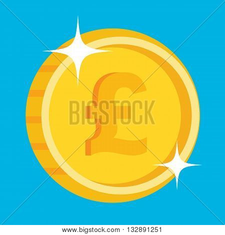 Vector gold coin icon with british pound symbol. One penny coin. British pound icon