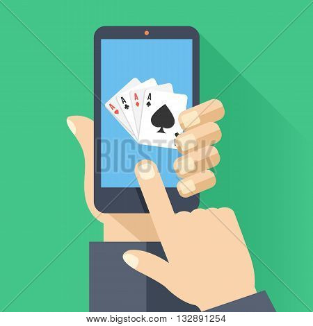 4 aces playing cards on smartphone screen. Hand hold smartphone, finger touch screen. Cellphone poker. Modern concept for web banner, web sites, infographics. Creative flat design vector illustration