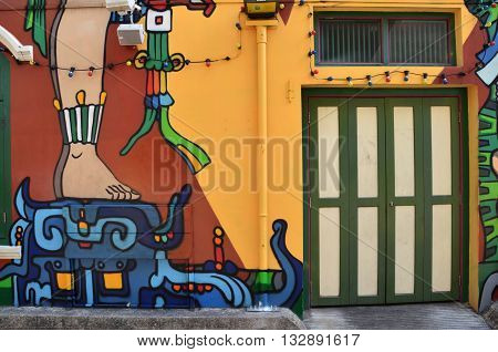Decorative Colorful Painted Walls At Haji Lane Singapore