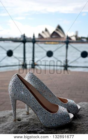 Nice and shiny wedding stilettos with rhinestones