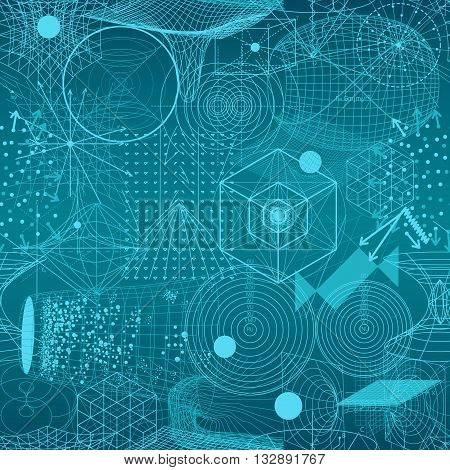 Sacred geometry symbols and elements wallpaper seamless pattern. Textile design abstract texture surface pattern. Alchemy religion philosophy astrology and spirituality themes