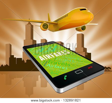 Airfares Online Represents Selling Price And Aeroplane 3D Rendering